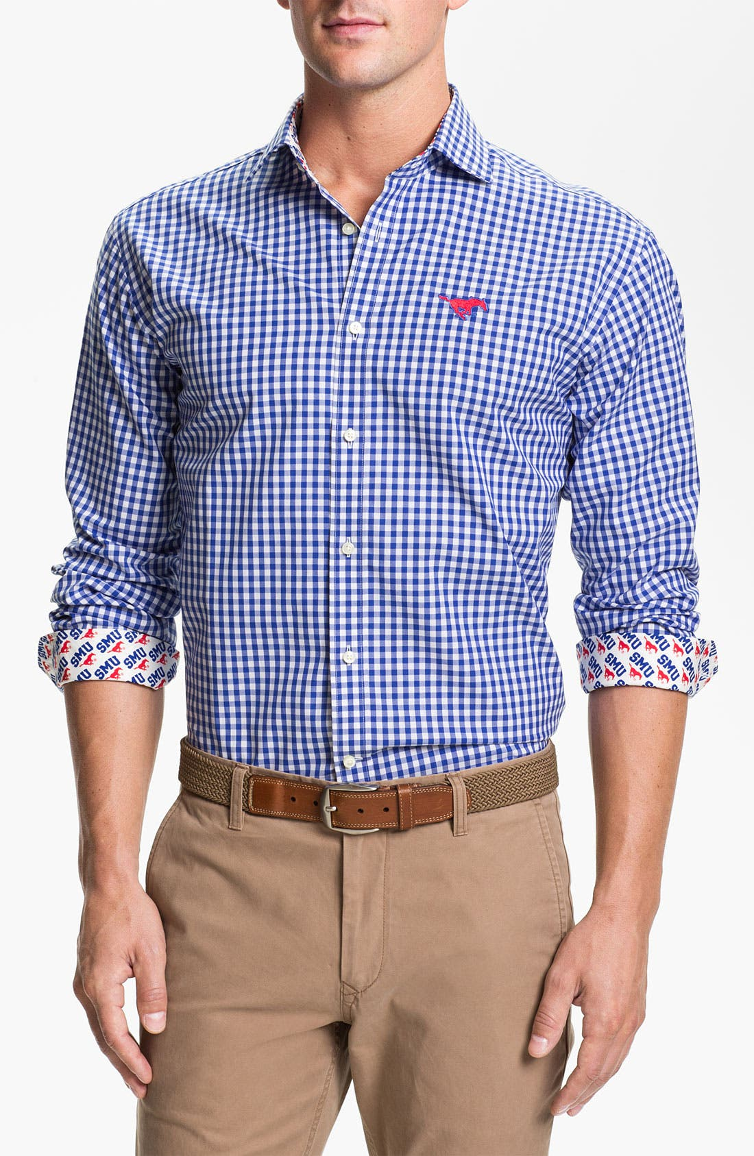 Alternate Image 1 Selected - Thomas Dean 'Southern Methodist University' Gingham Sport Shirt
