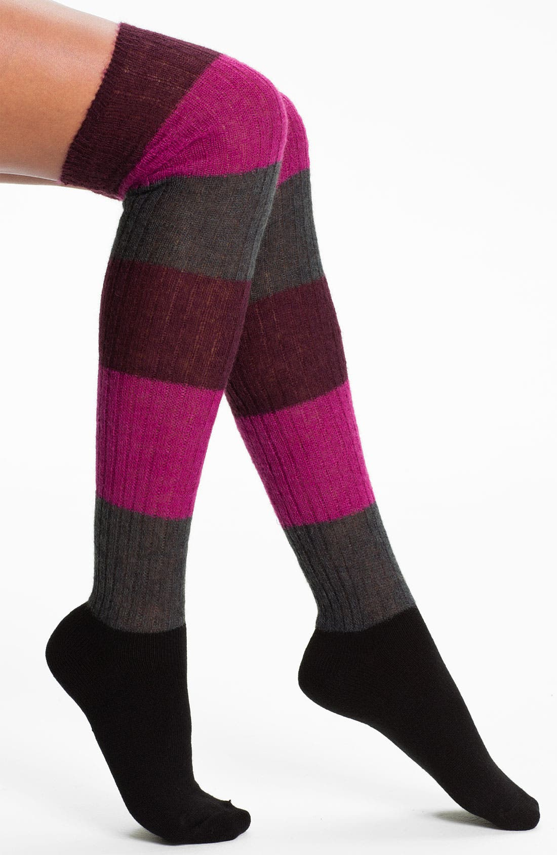Main Image - Hue Colorblock Over the Knee Socks