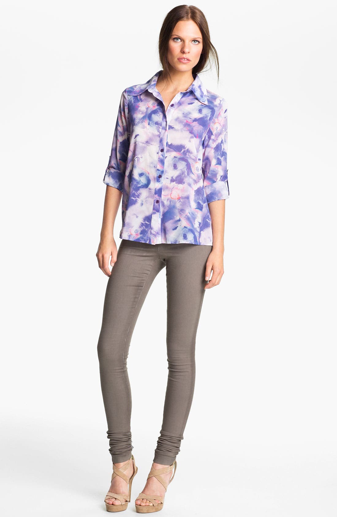 Main Image - Alice + Olivia 'Juliette' Tie Dye Stretch Silk Shirt