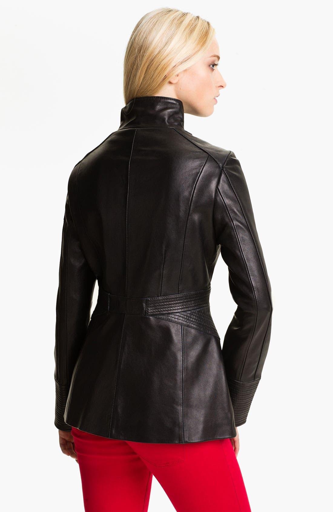 Alternate Image 2  - Via Spiga Funnel Neck Leather Jacket
