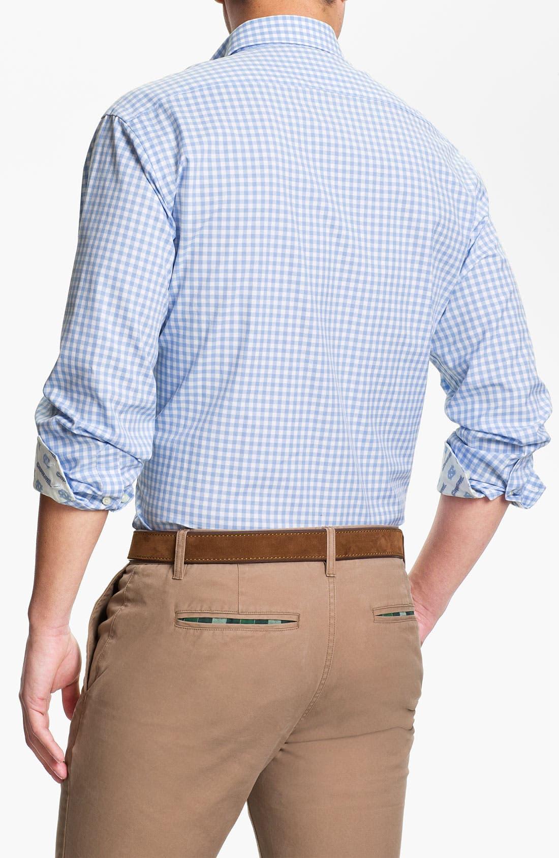 Alternate Image 2  - Thomas Dean 'University of North Carolina' Traditional Fit Sport Shirt
