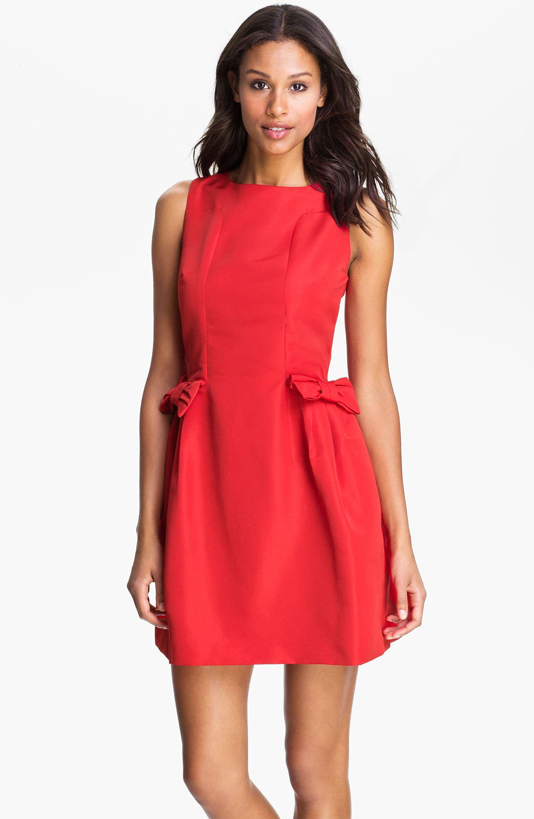 Alternate Image 1 Selected - Taylor Dresses Bow Detail Woven Shift Dress