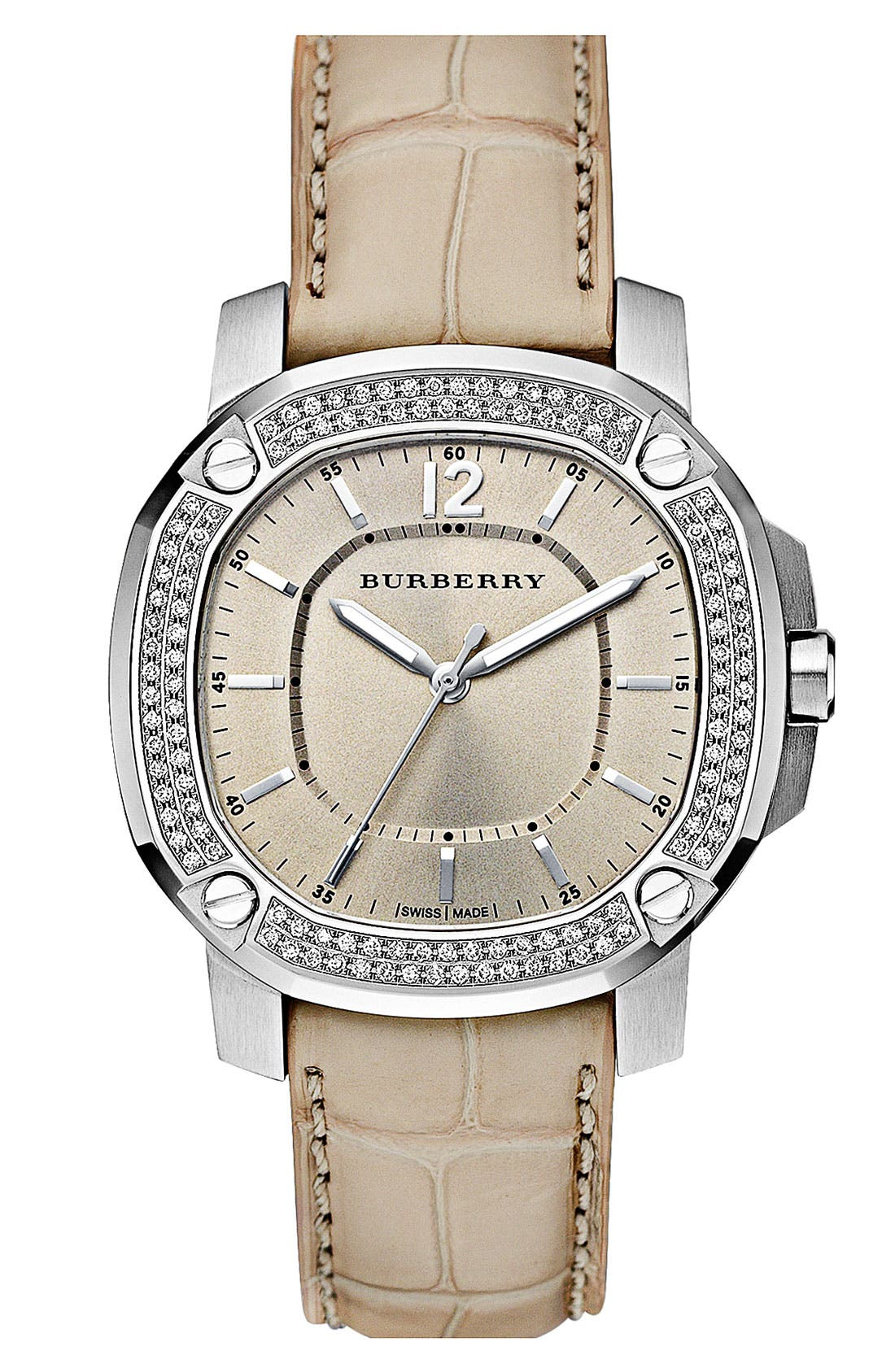 Main Image - Burberry The Britain Diamond Bezel Alligator Strap Watch, 38mm