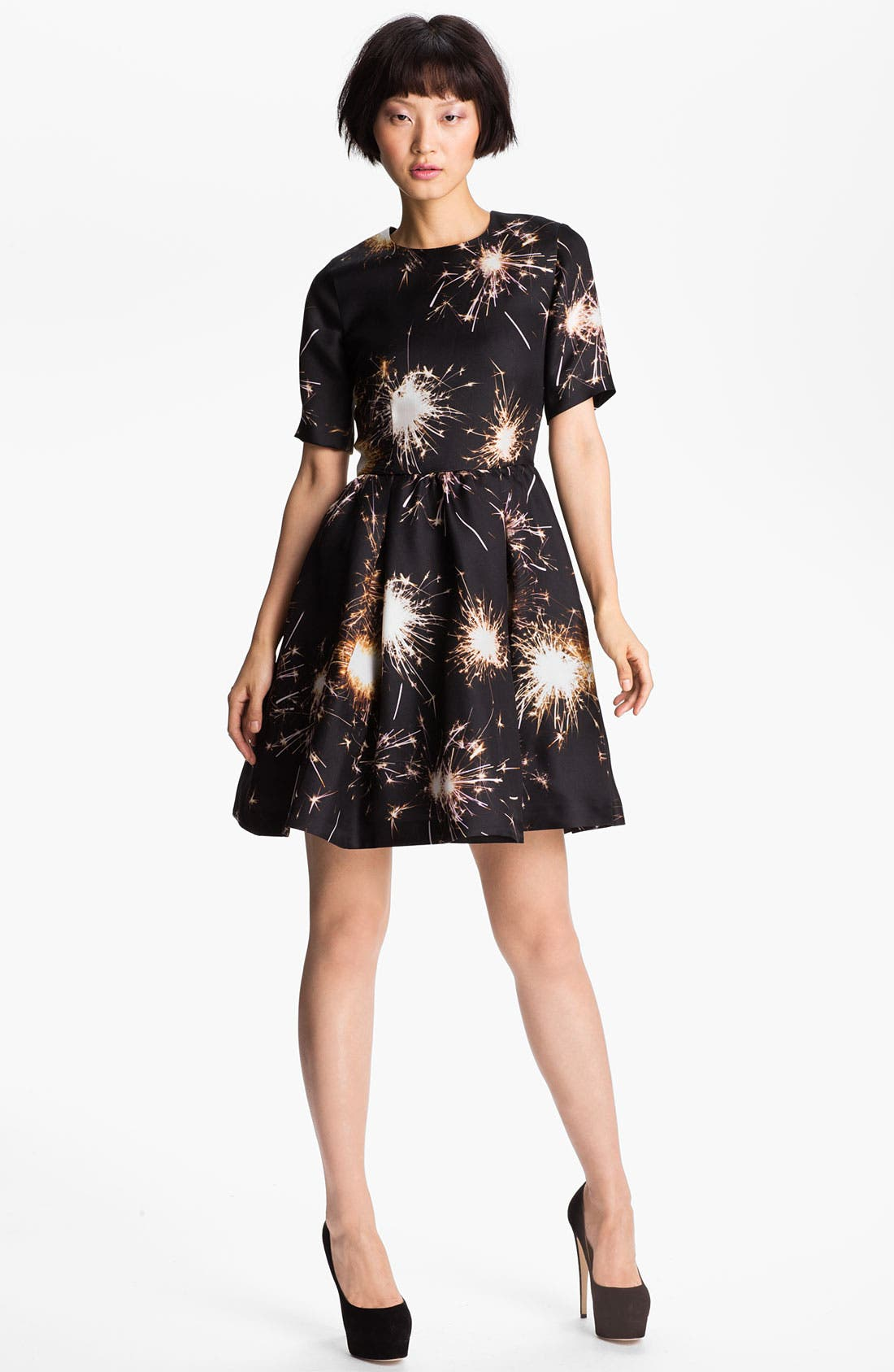 Alternate Image 1 Selected - MSGM Firework Print Silk Gazar Dress