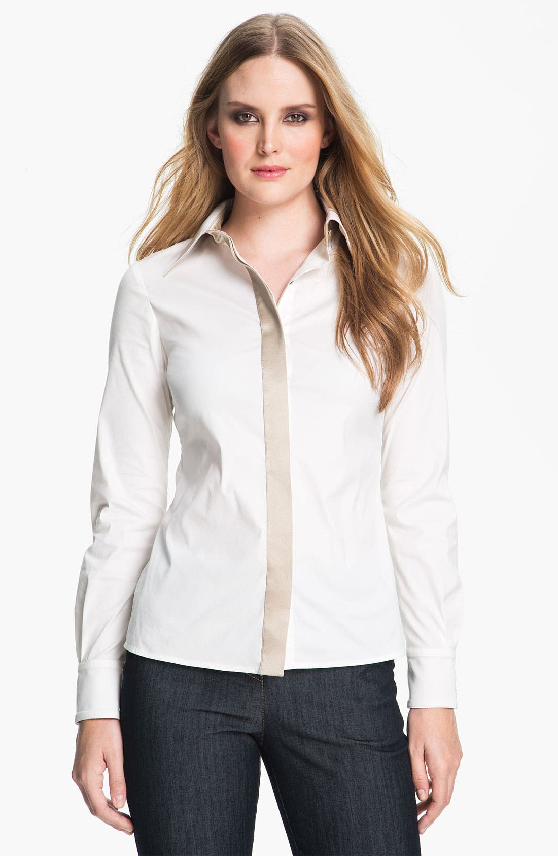 Alternate Image 1 Selected - St. John Collection Stretch Poplin Shirt