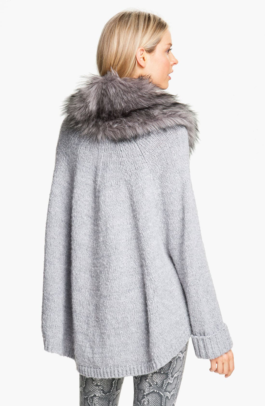 Alternate Image 2  - MICHAEL Michael Kors Faux Fur Trim Poncho Sweater