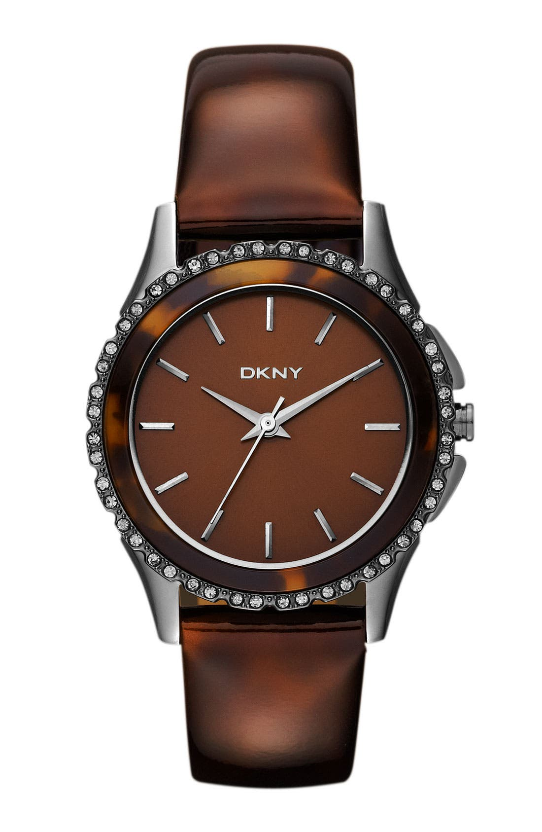 Alternate Image 1 Selected - DKNY Crystal Detail Leather Strap Watch