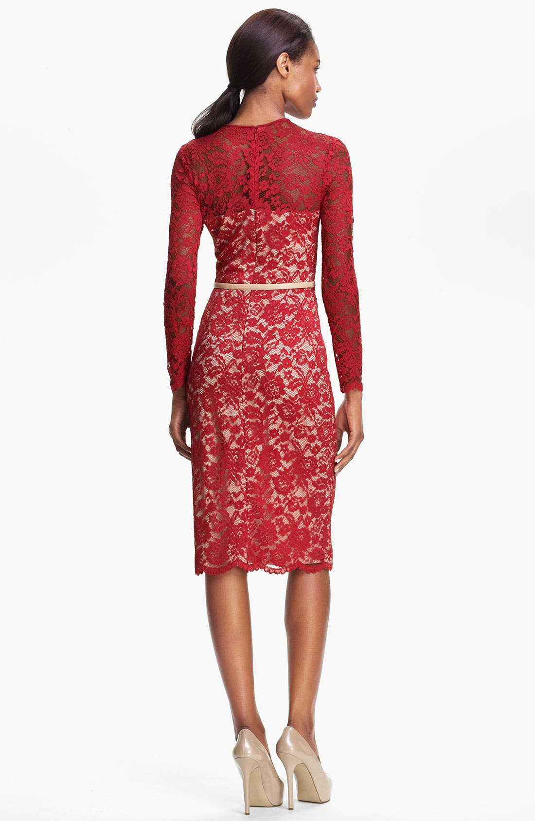 Alternate Image 2  - Maggy London Embroidered Lace Overlay Midi Dress (Regular & Petite)