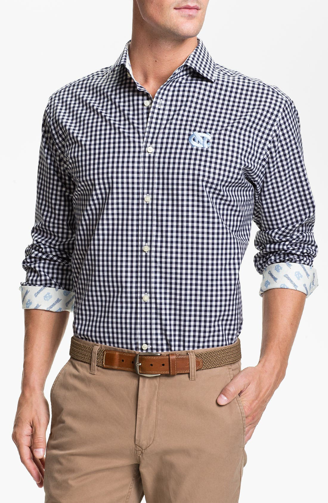 Alternate Image 1 Selected - Thomas Dean 'University of North Carolina' Gingham Sport Shirt