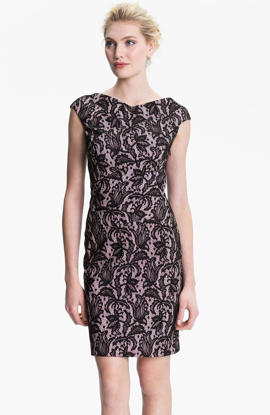 Alternate Image 1 Selected - Kay Unger V-Back Lace Jacquard Sheath Dress