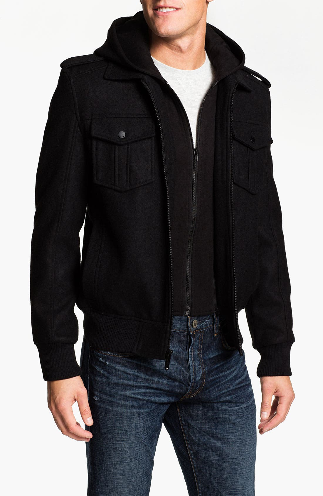 Main Image - Black Rivet Wool Blend Bomber Jacket