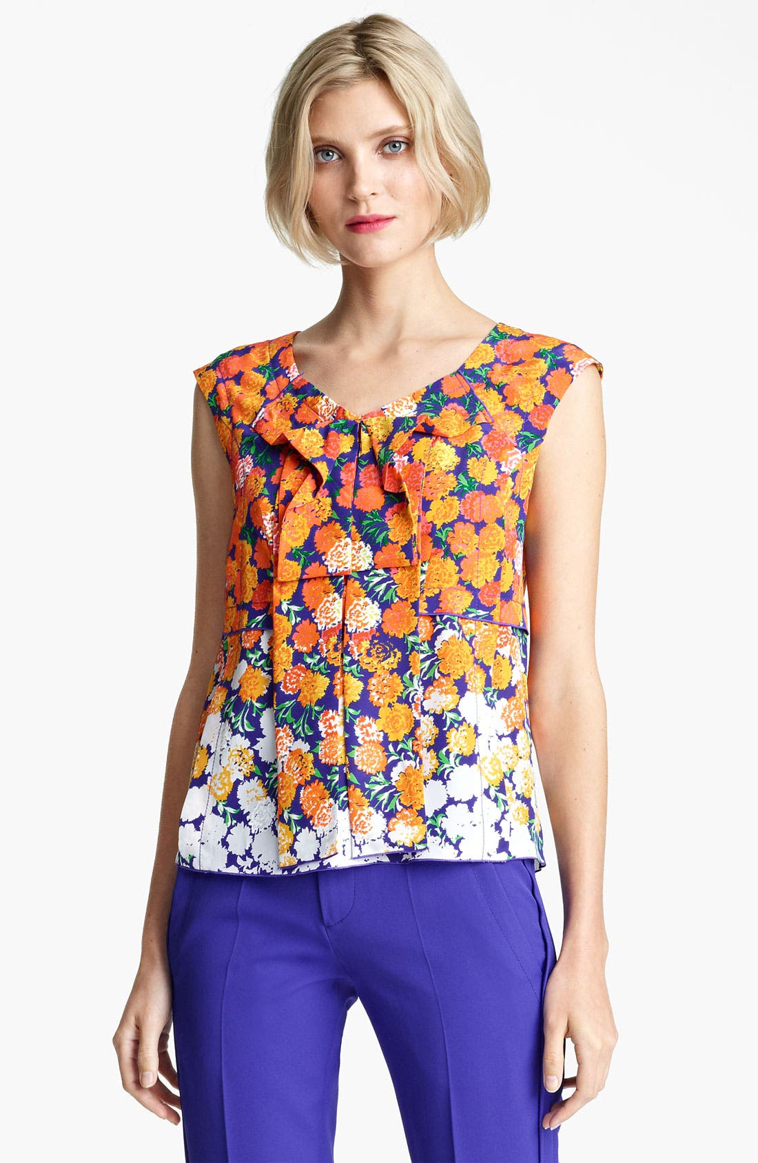 Alternate Image 1 Selected - MARC JACOBS Dégradé Floral Silk Crepe Top