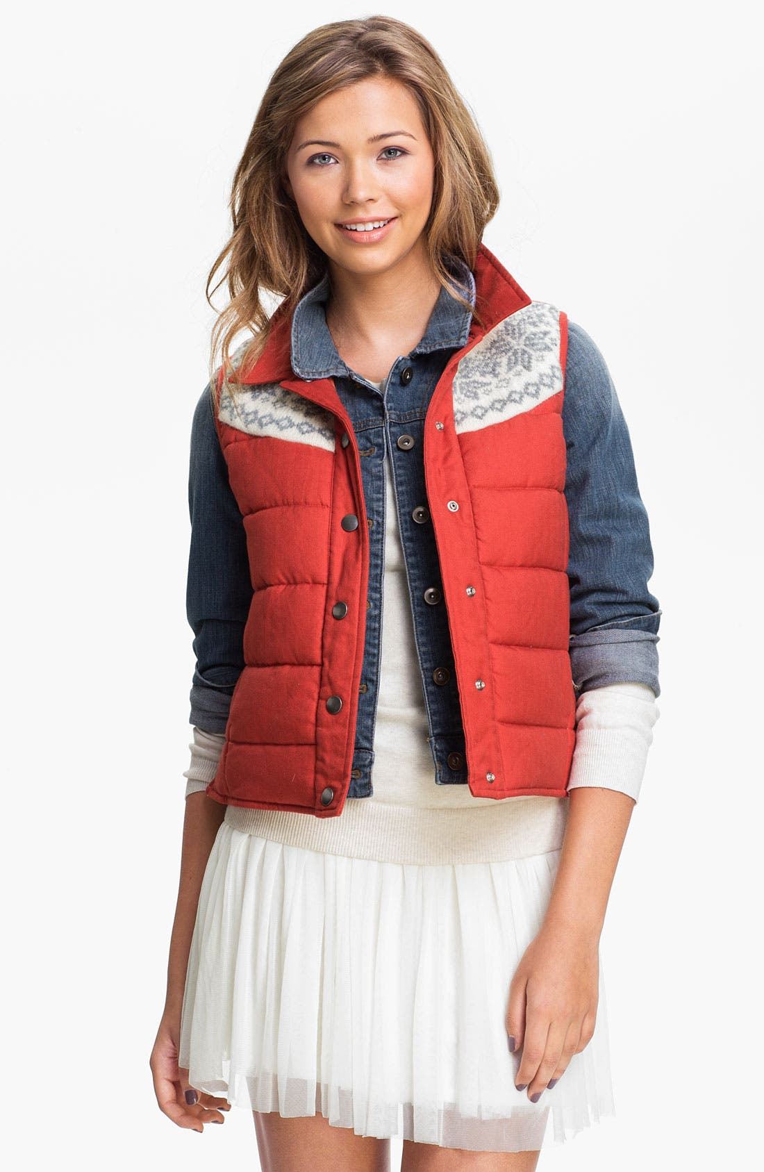 Alternate Image 1 Selected - Rubbish® Nordic Knit Quilted Vest (Juniors)