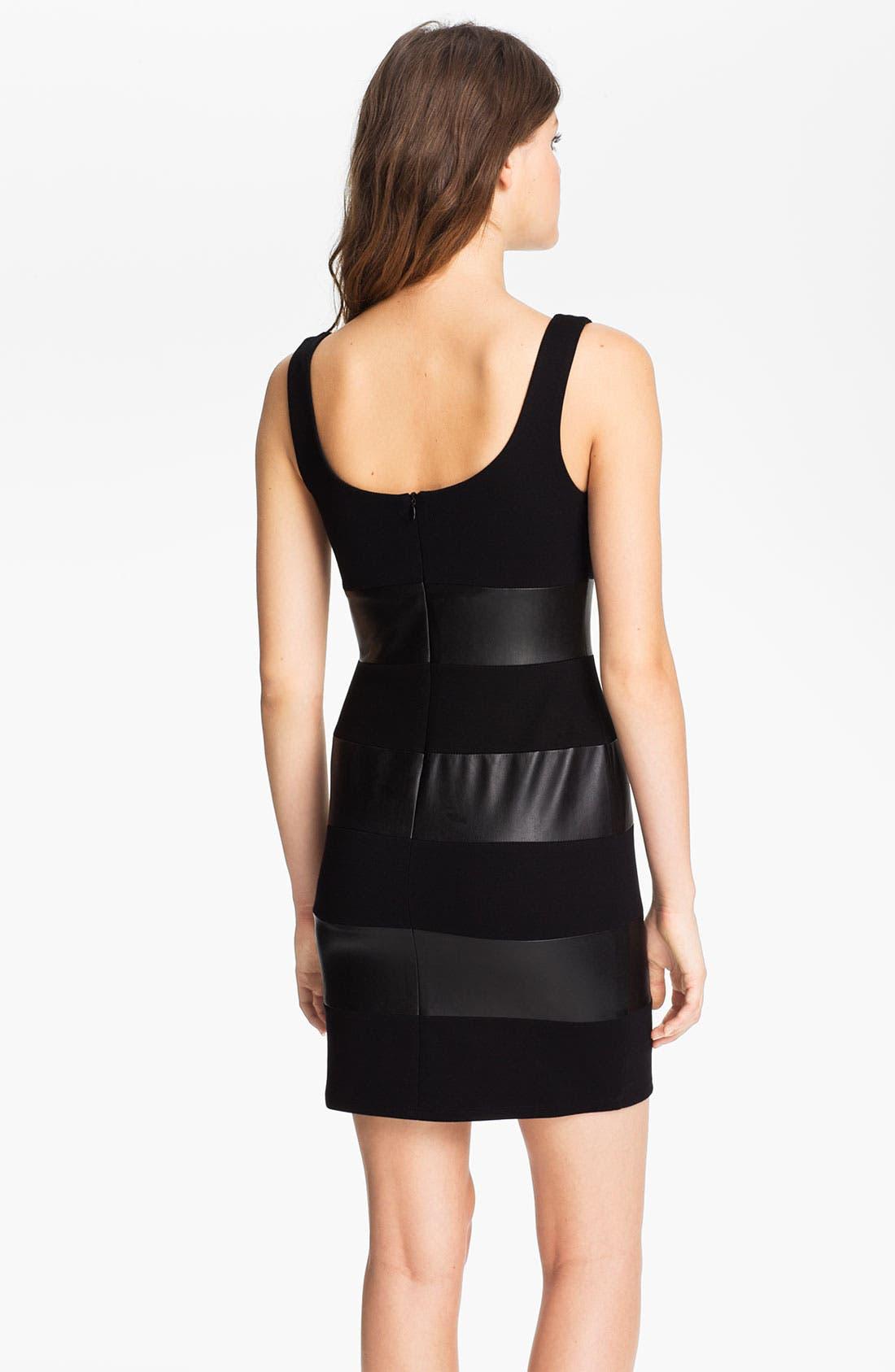Alternate Image 2  - B44 Dressed by Bailey 44 'Little Black Dress' Faux Leather Stripe Tank Dress
