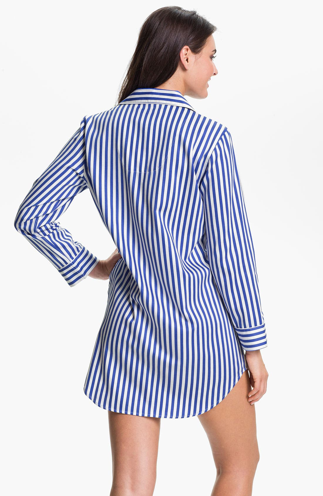 Alternate Image 2  - Lauren Ralph Lauren Sleepwear Stripe Sateen Nightshirt