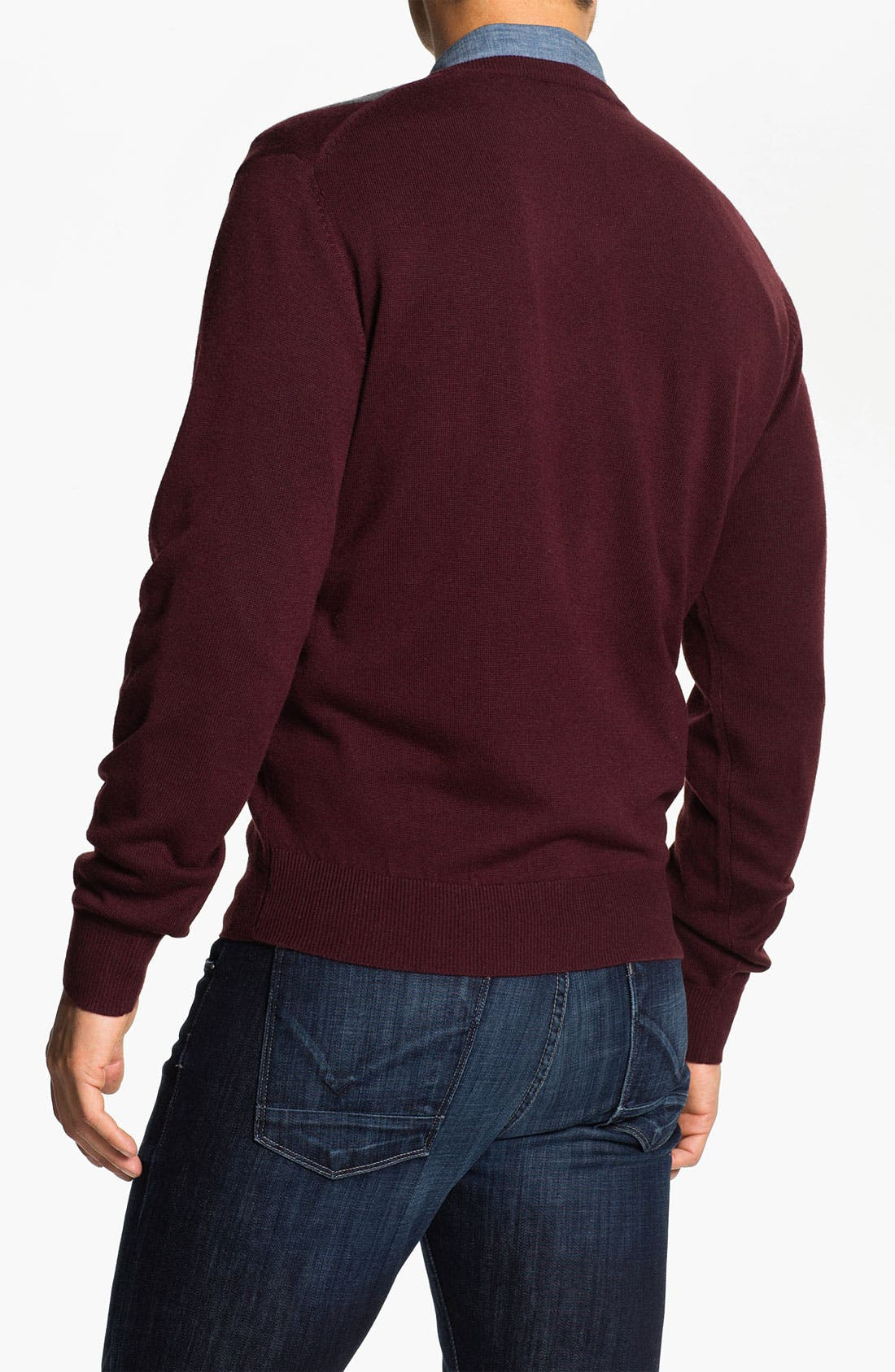 Alternate Image 2  - Toscano Merino Wool Blend V-Neck Sweater