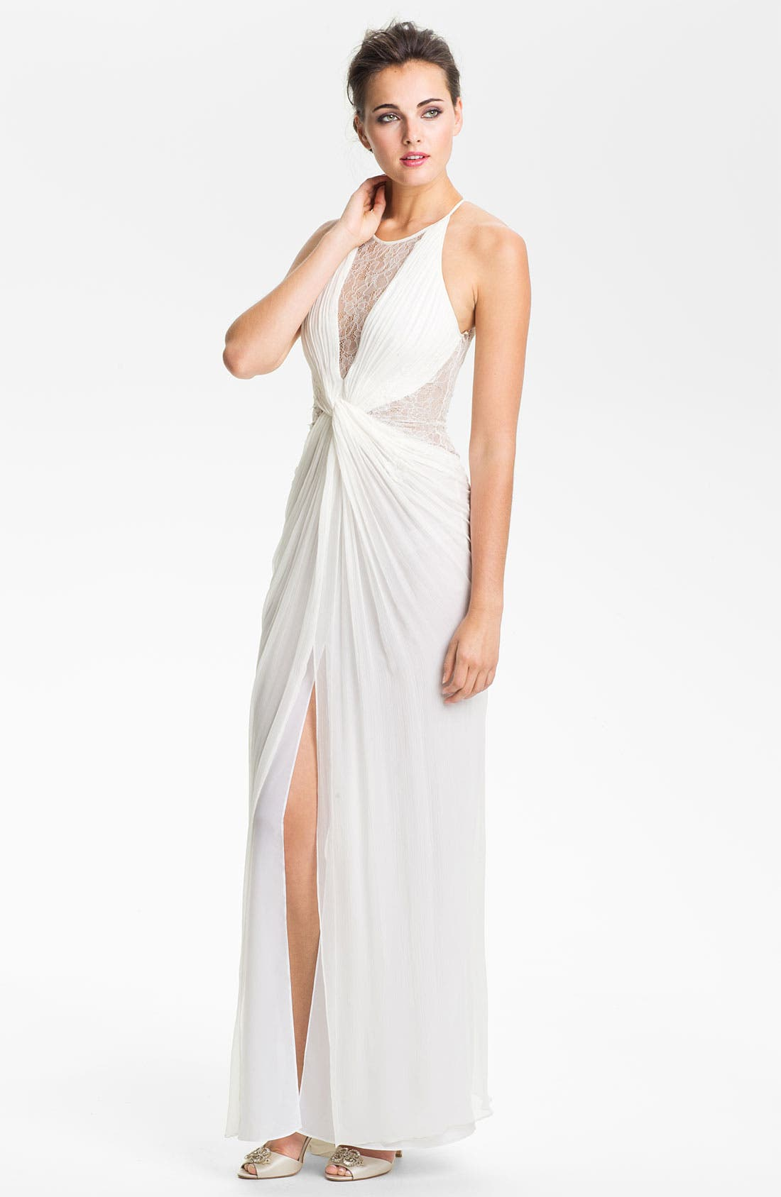 Alternate Image 1 Selected - BCBGMAXAZRIA Lace Inset Knot Front Silk Chiffon Gown