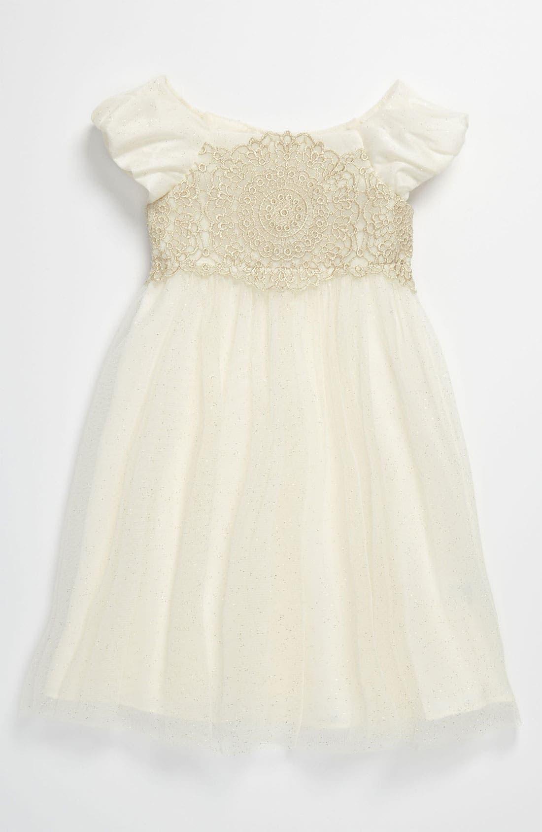 Main Image - Sweet Heart Rose Lace Empire Waist Glitter Dress (Toddler)