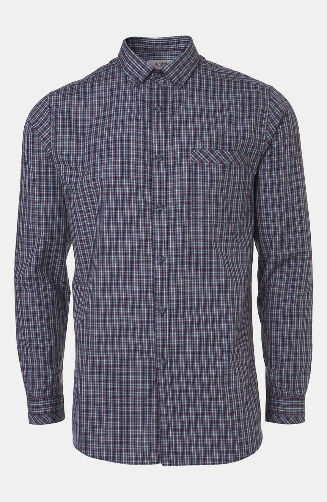 Alternate Image 1 Selected - Topman Extra Trim Tartan Check Shirt