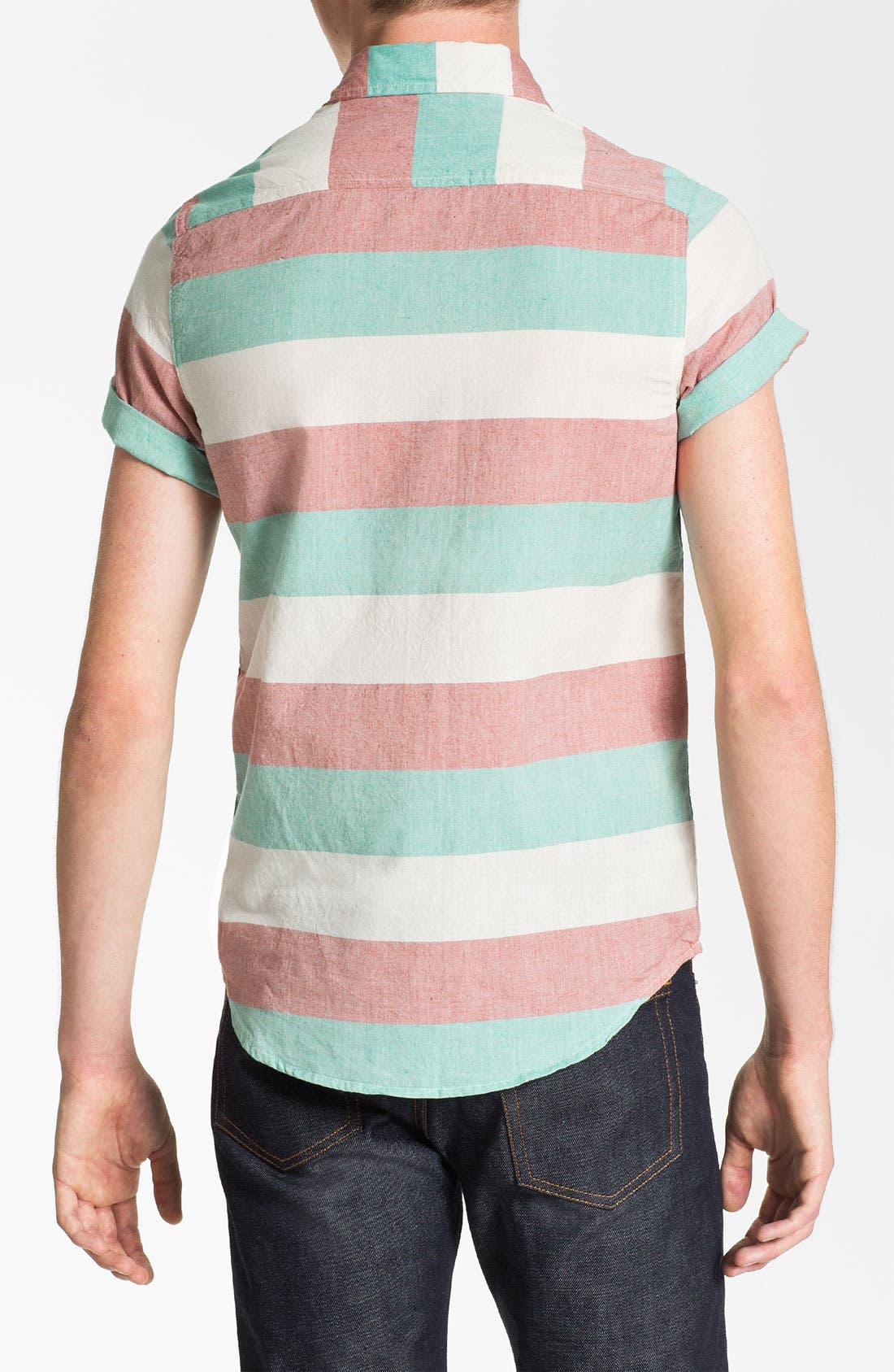 Alternate Image 2  - Topman Stripe Short Sleeve Shirt