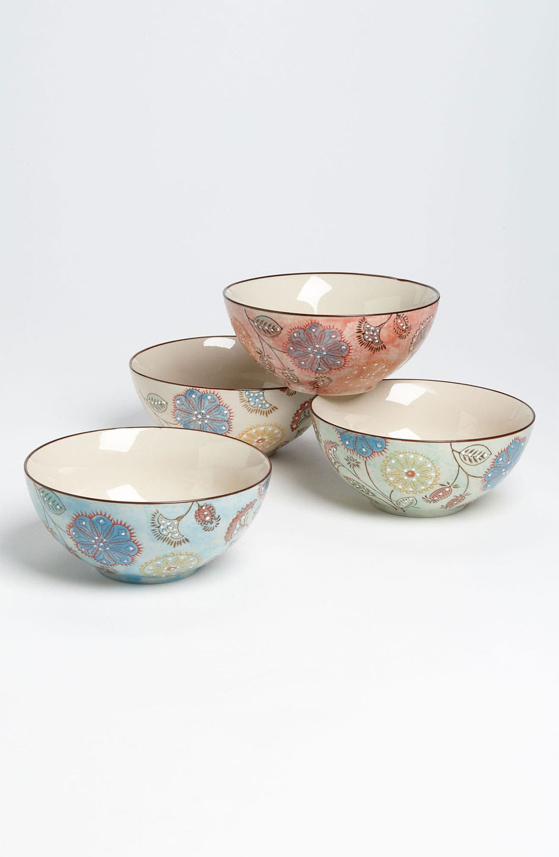 Alternate Image 1 Selected - Hand Painted Floral Bowls (Set of 4)