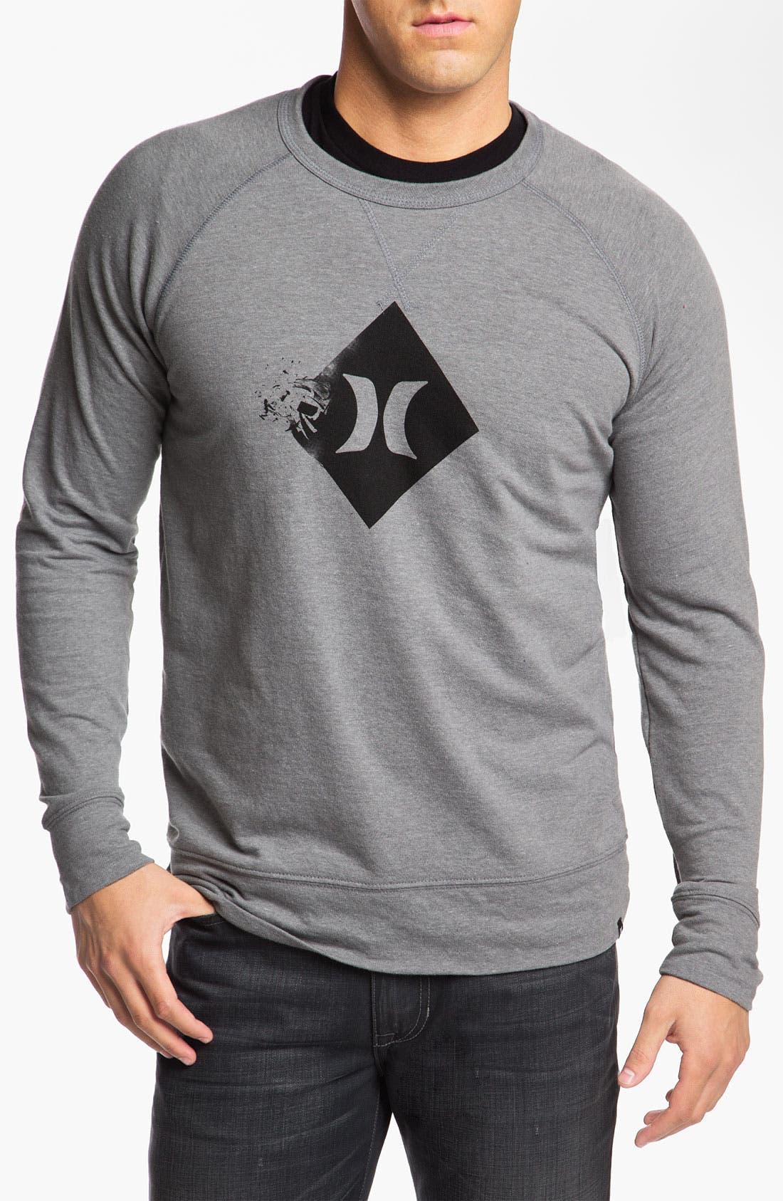 Alternate Image 1 Selected - Hurley 'Broken' Graphic Crewneck Sweatshirt