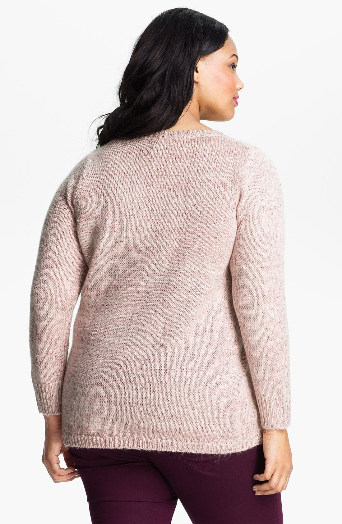 Alternate Image 2  - Evans Sequined Sweater (Plus Size)