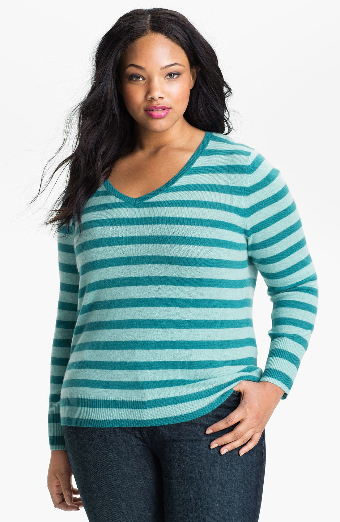 Alternate Image 1 Selected - Halogen® Stripe Cashmere V-Neck Sweater (Plus)