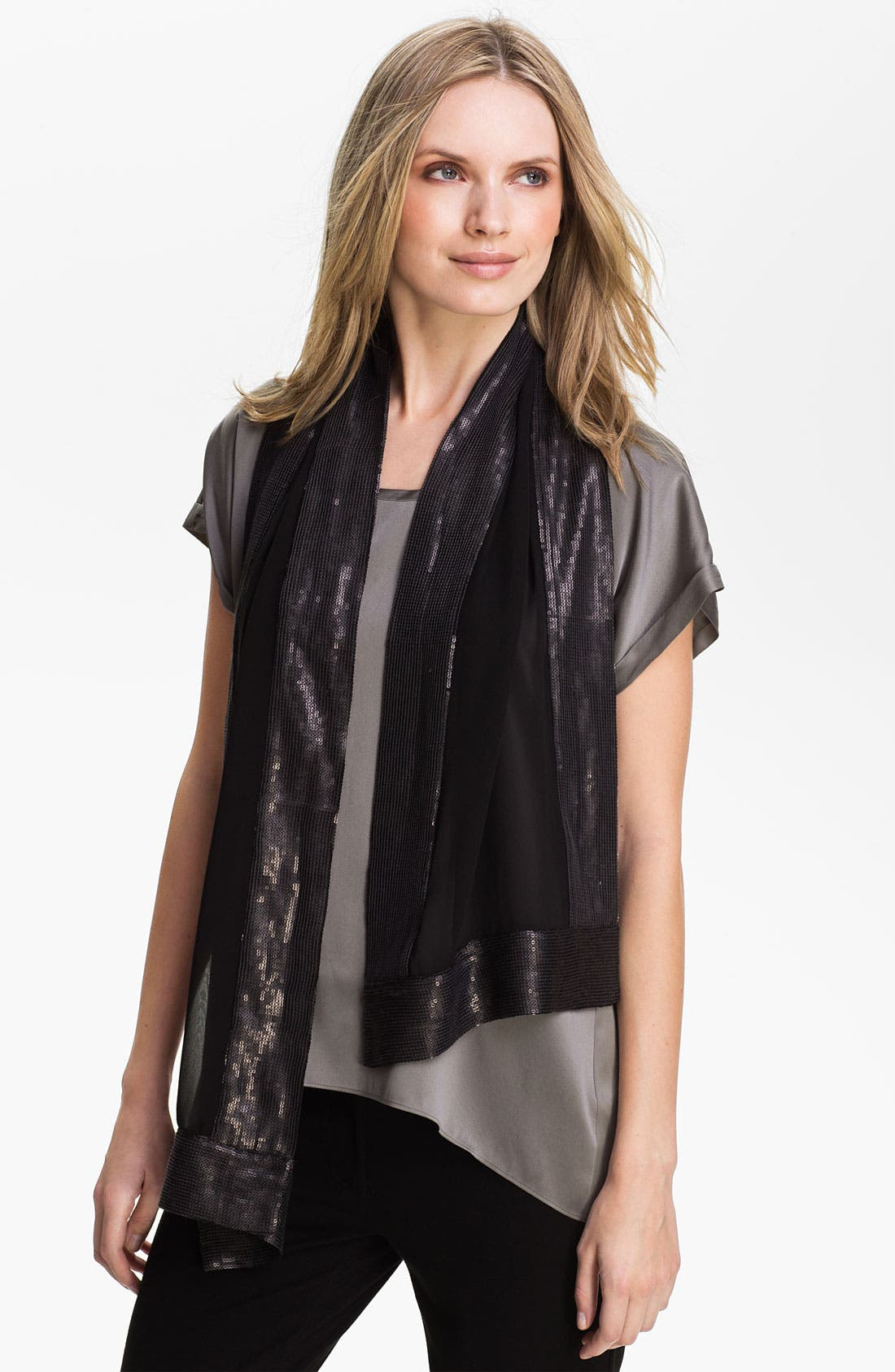 Main Image - Eileen Fisher Sequin Trim Silk Scarf (Online Exclusive)