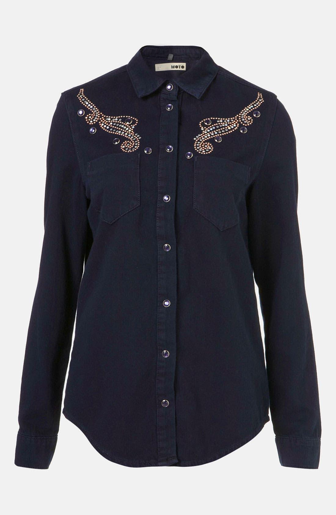 Alternate Image 1 Selected - Topshop Moto Studded Western Denim Shirt