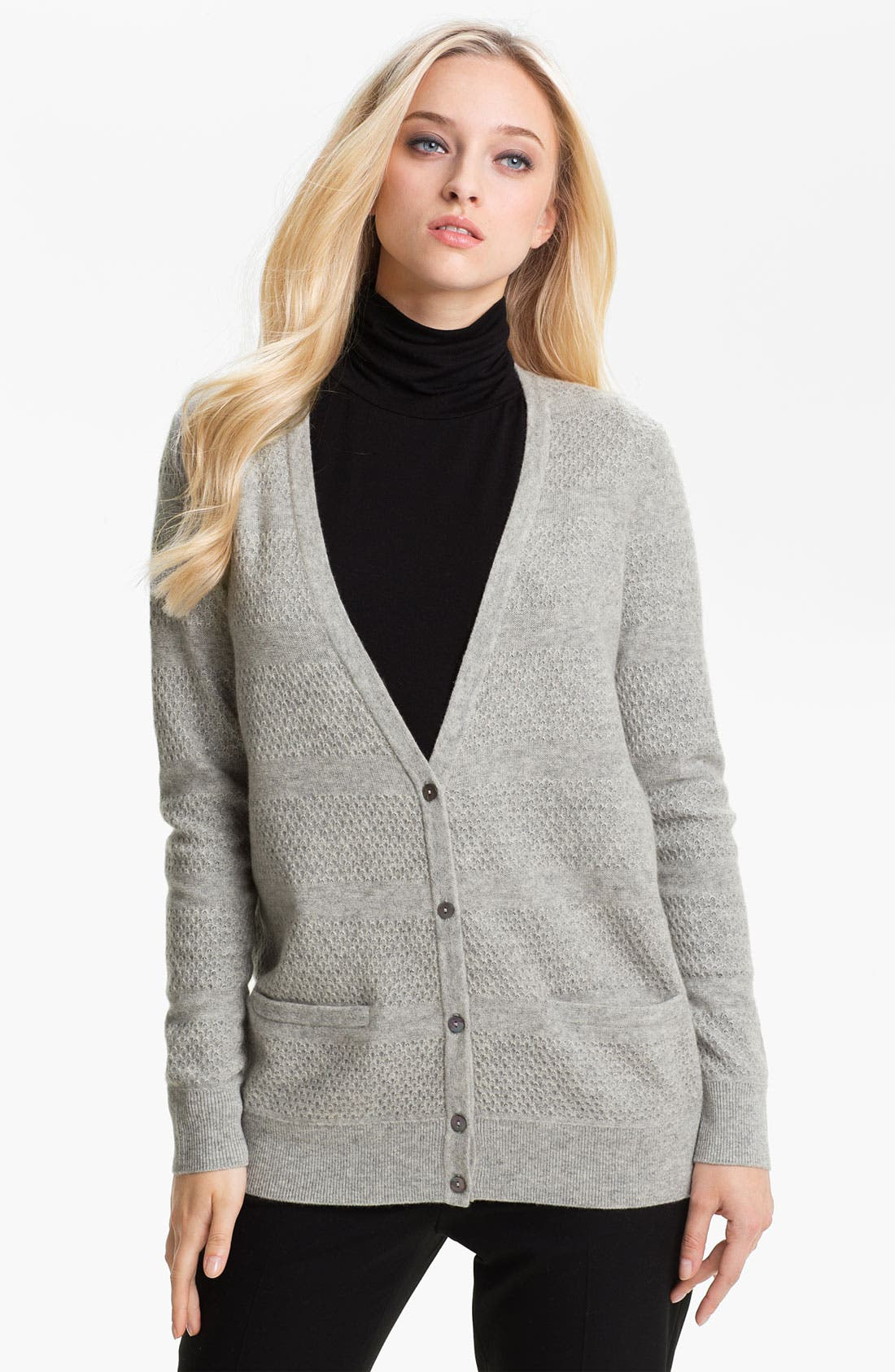 Alternate Image 1 Selected - Nordstrom Collection Mix Knit Cashmere Cardigan