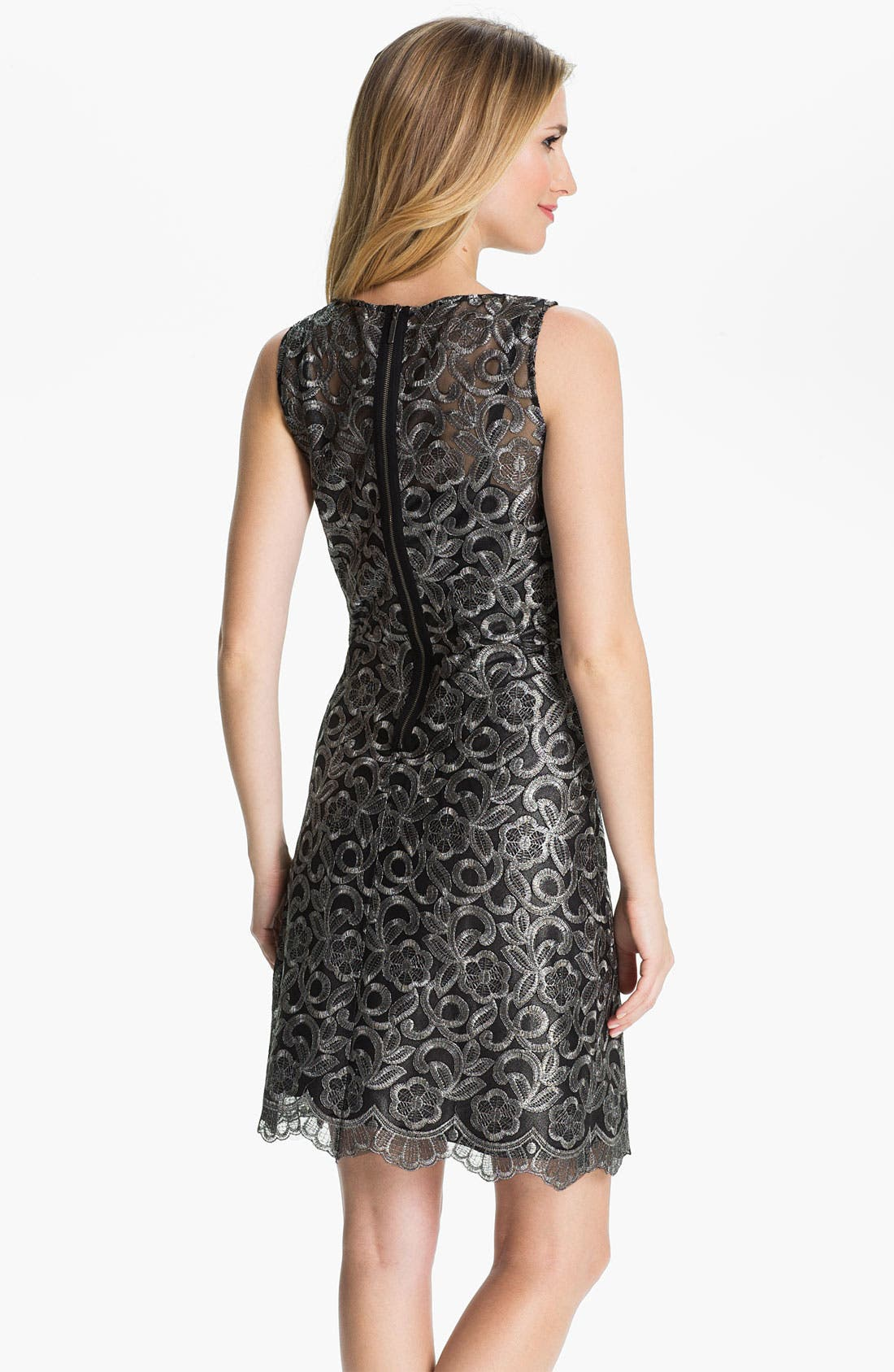 Alternate Image 2  - Donna Ricco Metallic Embroidered Sheath Dress