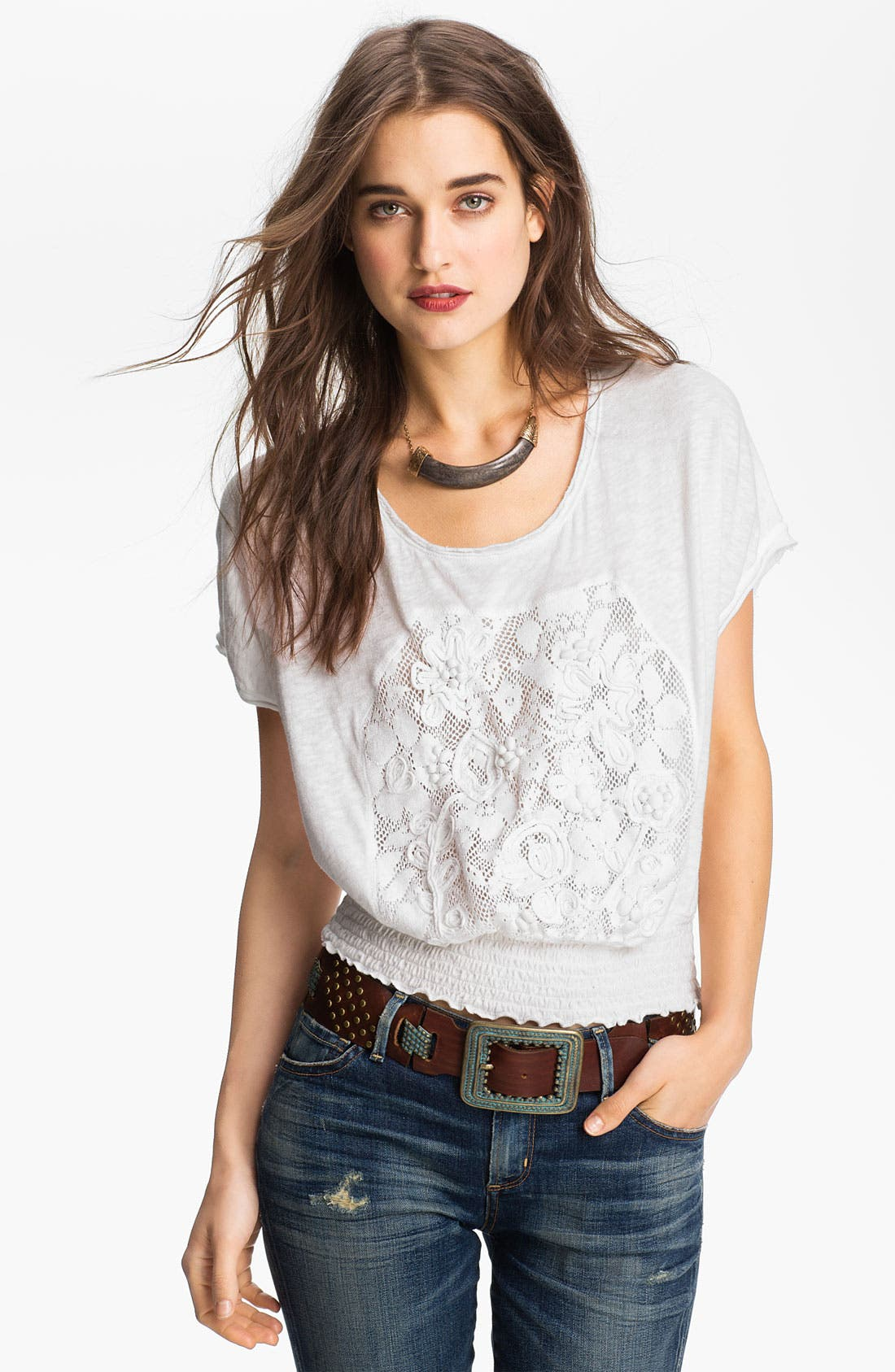 Alternate Image 1 Selected - Free People Lace Bib Peasant Top