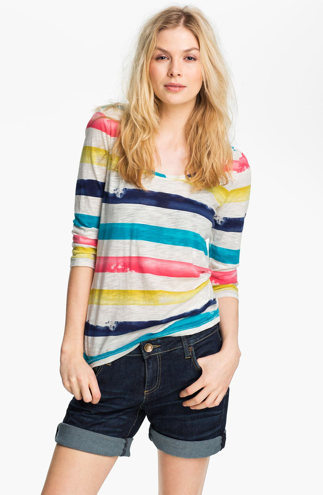 Alternate Image 1 Selected - Lucky Brand 'Spring' Painted Stripe Tee