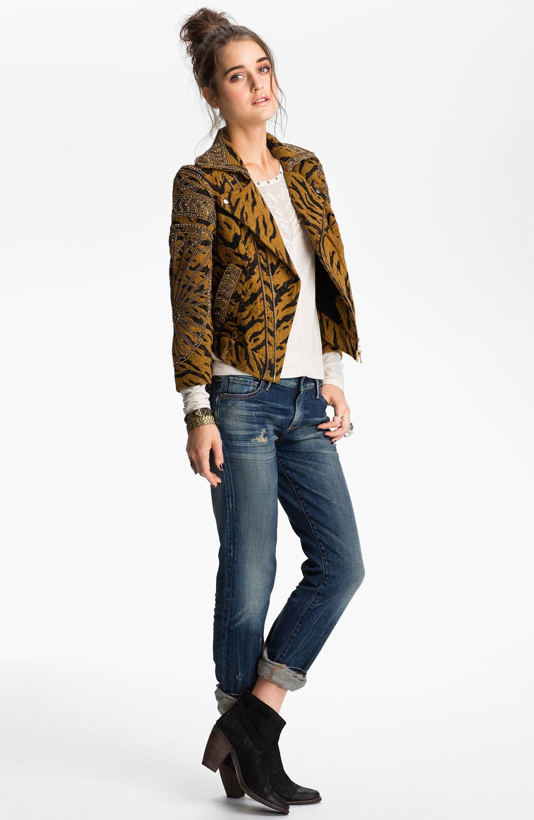 Main Image - Free People Embellished Tiger Jacquard Biker Jacket