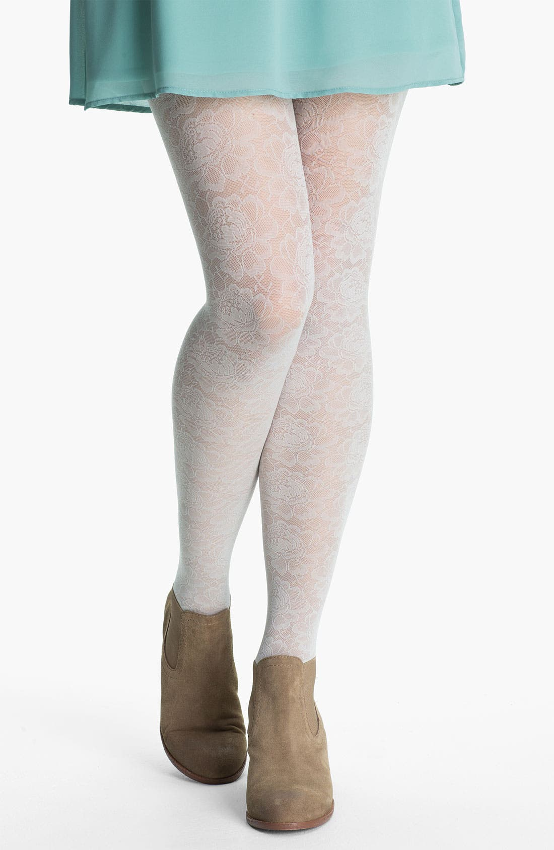 Alternate Image 1 Selected - Frenchi® Floral Lace Tights (Juniors)
