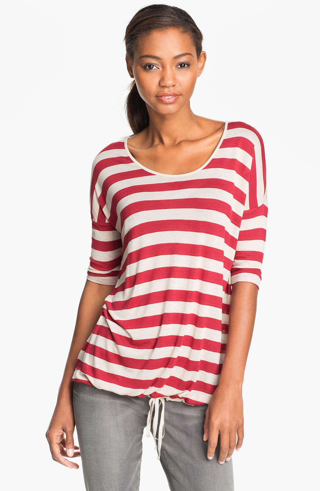 Alternate Image 1 Selected - Kensie Drawstring Hem Stripe Top