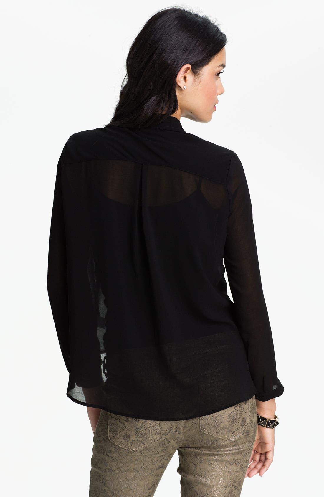 Alternate Image 2  - Elodie Stud Collar Sheer Shirt (Juniors)