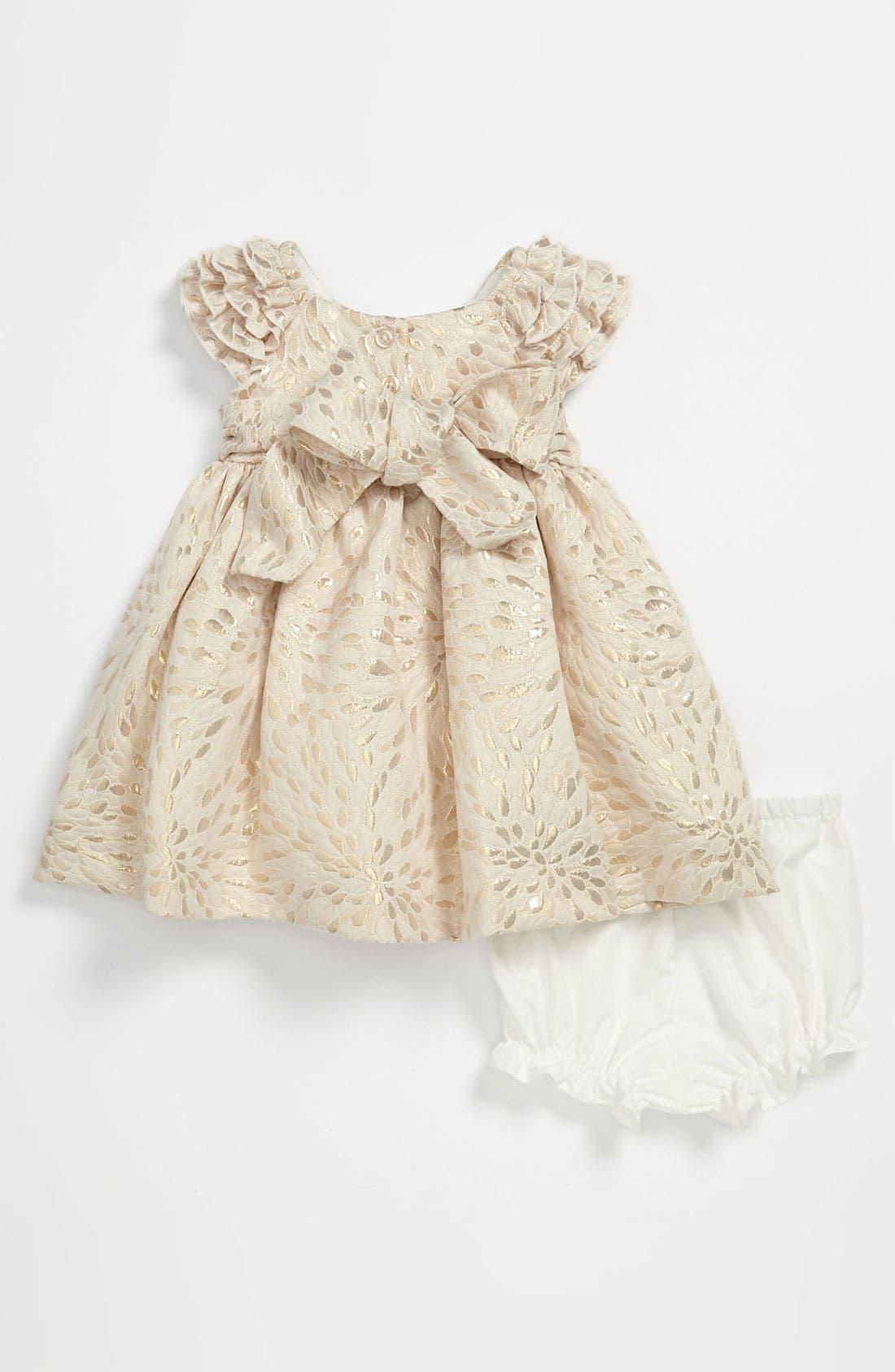 Alternate Image 2  - Laura Ashley Brocade Dress & Bloomers (Infant)