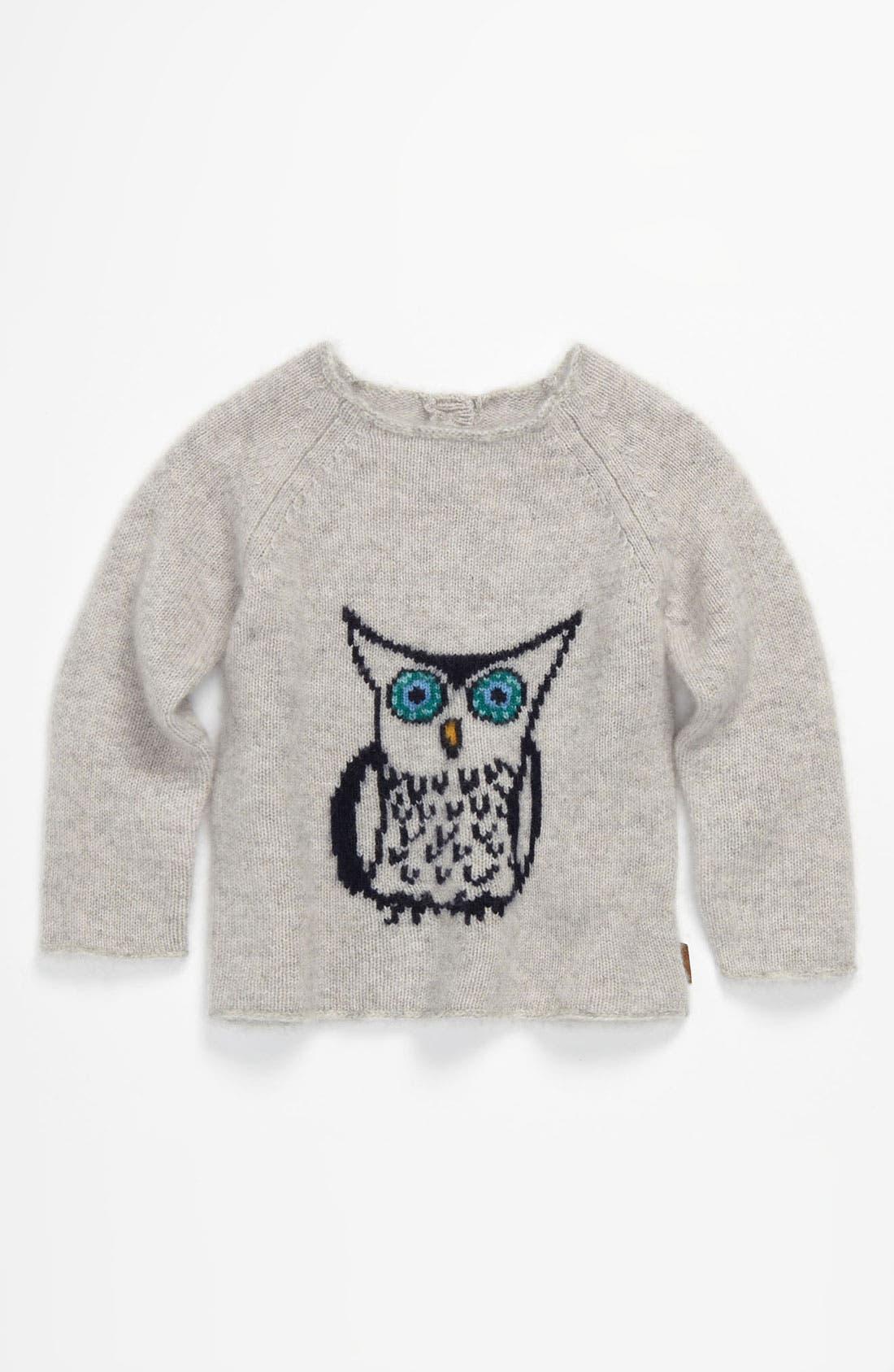 Main Image - Burberry 'Tova' Owl Intarsia Cashmere Sweater (Infant)