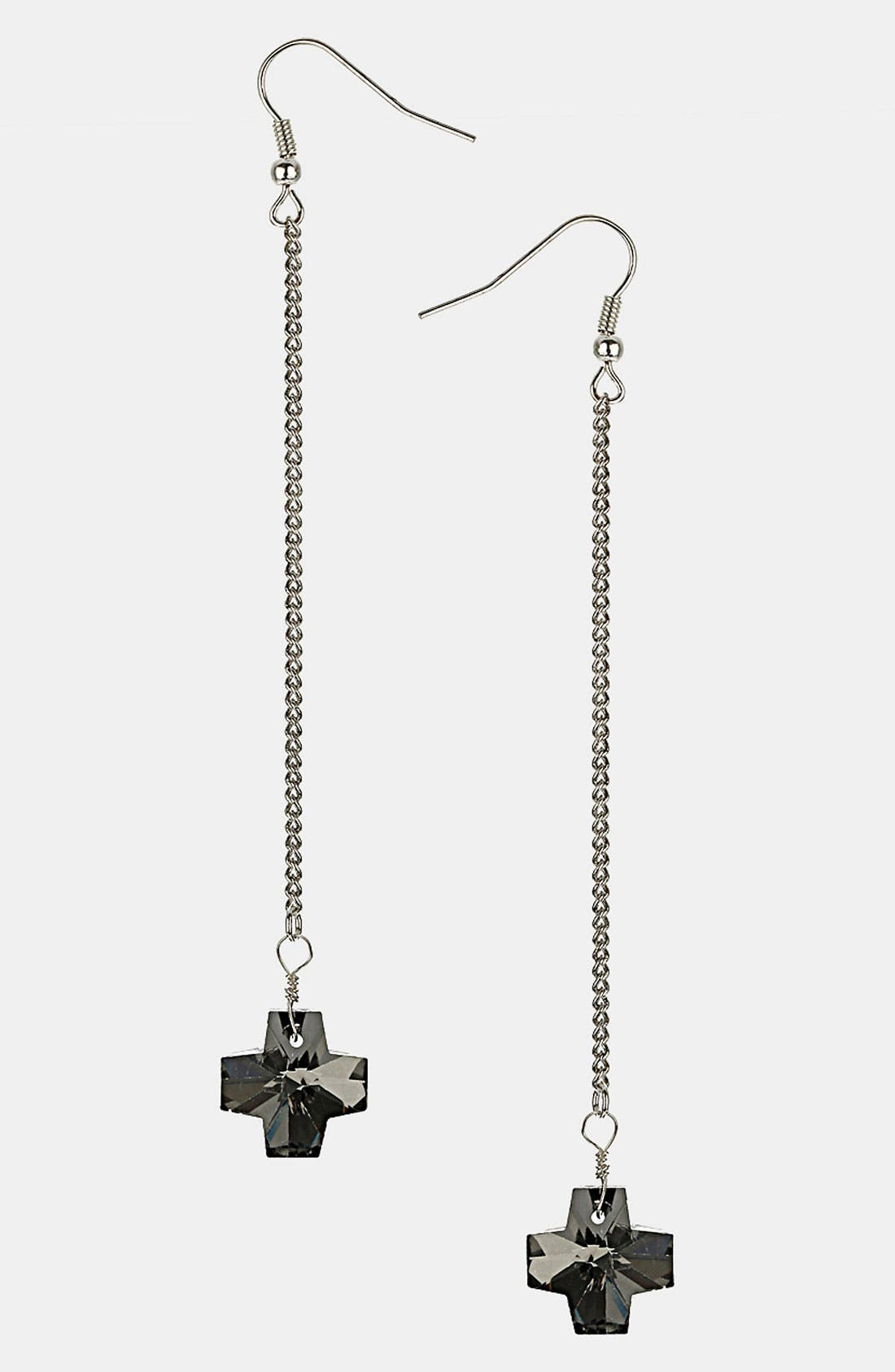 Alternate Image 1 Selected - Topshop Jet Cross Drop Earrings