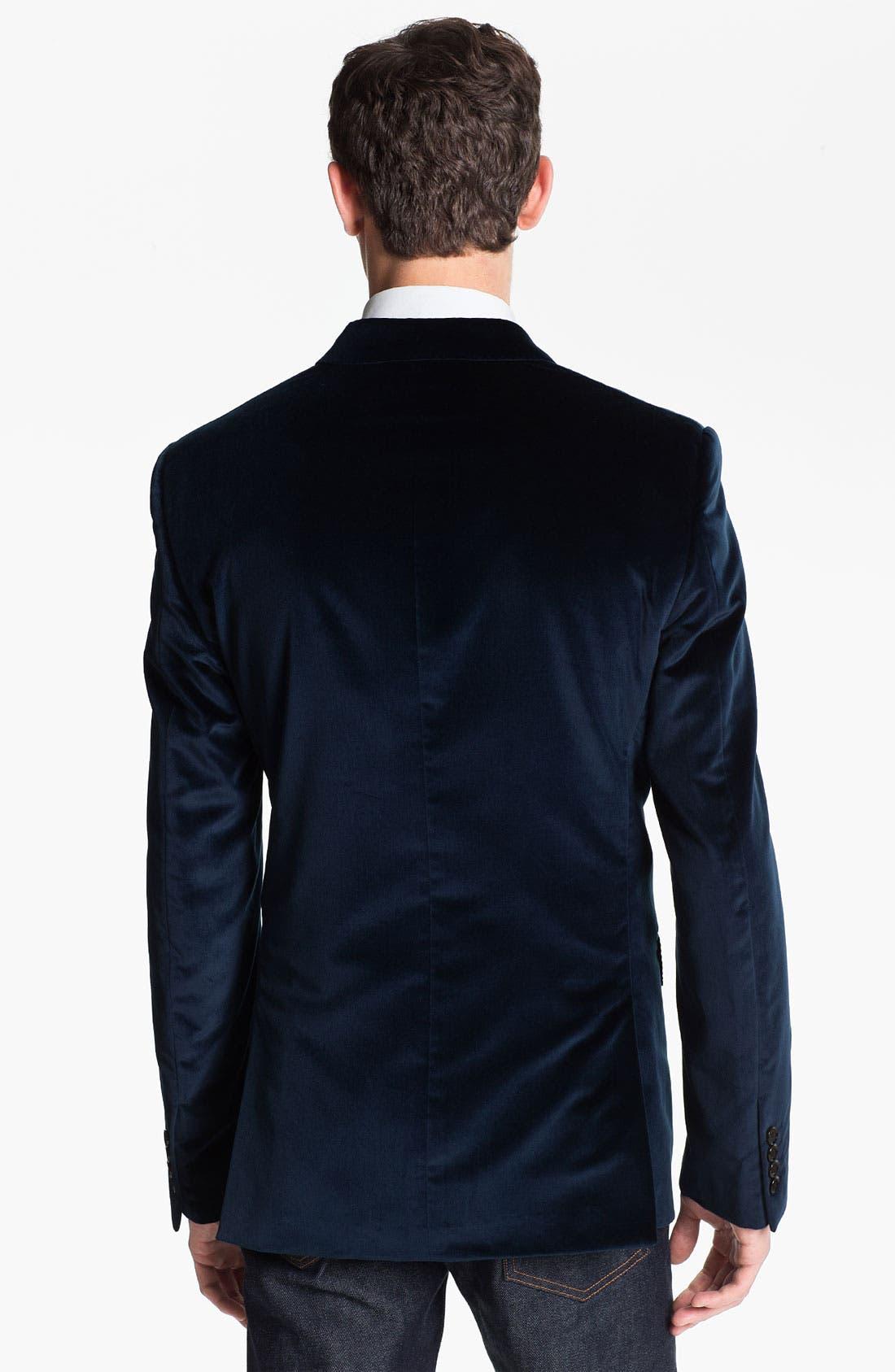 Alternate Image 2  - Burberry London Trim Fit Velvet Blazer