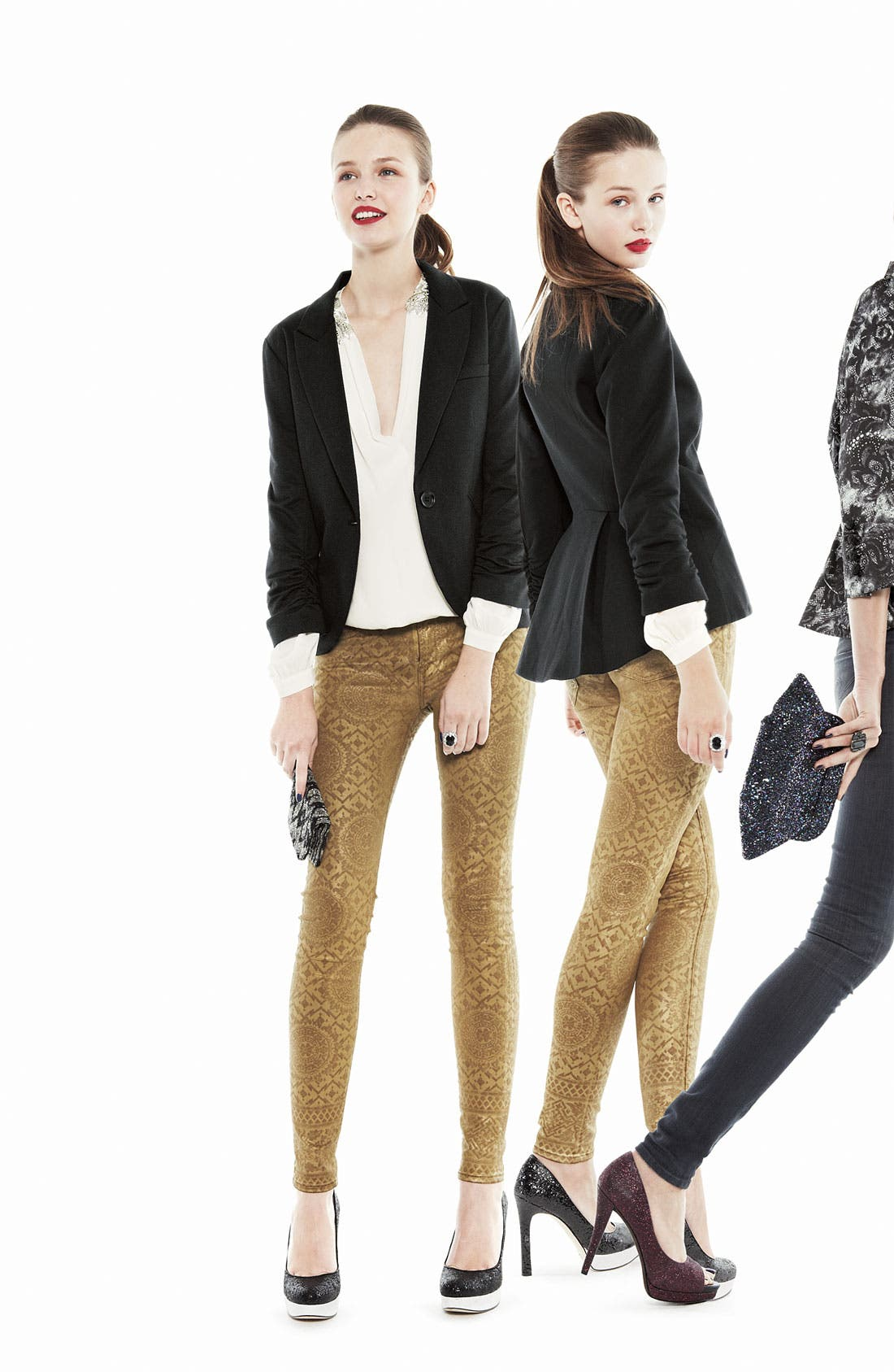 Alternate Image 4  - 7 For All Mankind® Coated Print Skinny Jeans (Gold Artisan)