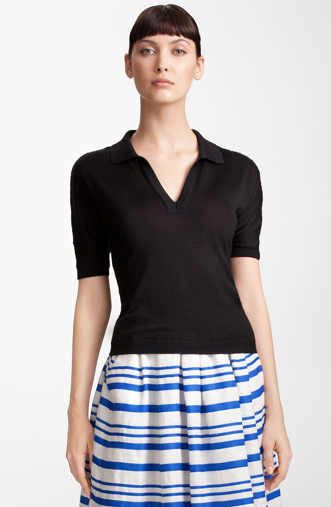 Main Image - Dolce&Gabbana Crochet Trim Silk Knit Polo