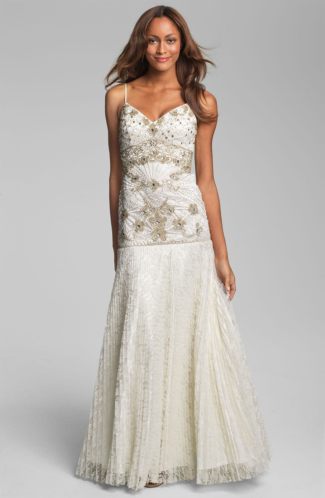 Main Image - Sue Wong Beaded Bodice Drop Waist Gown
