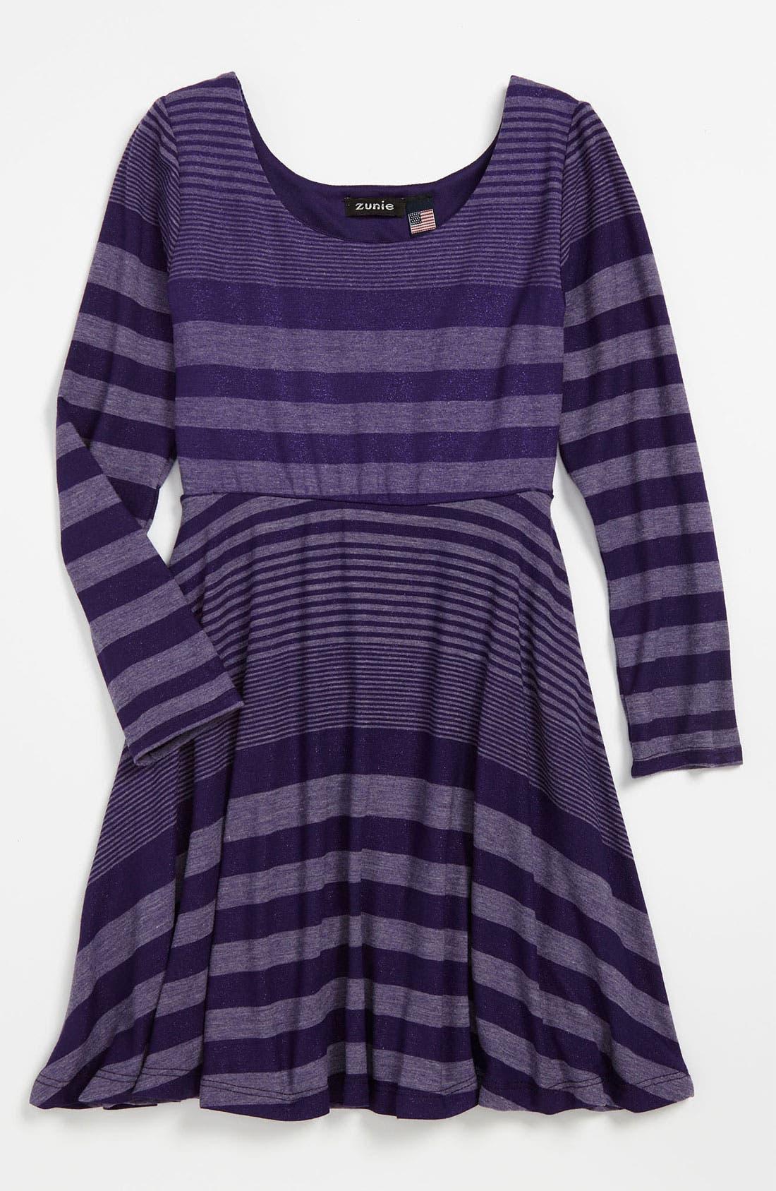 Main Image - Zunie 'Foil' Knit Dress (Little Girls)