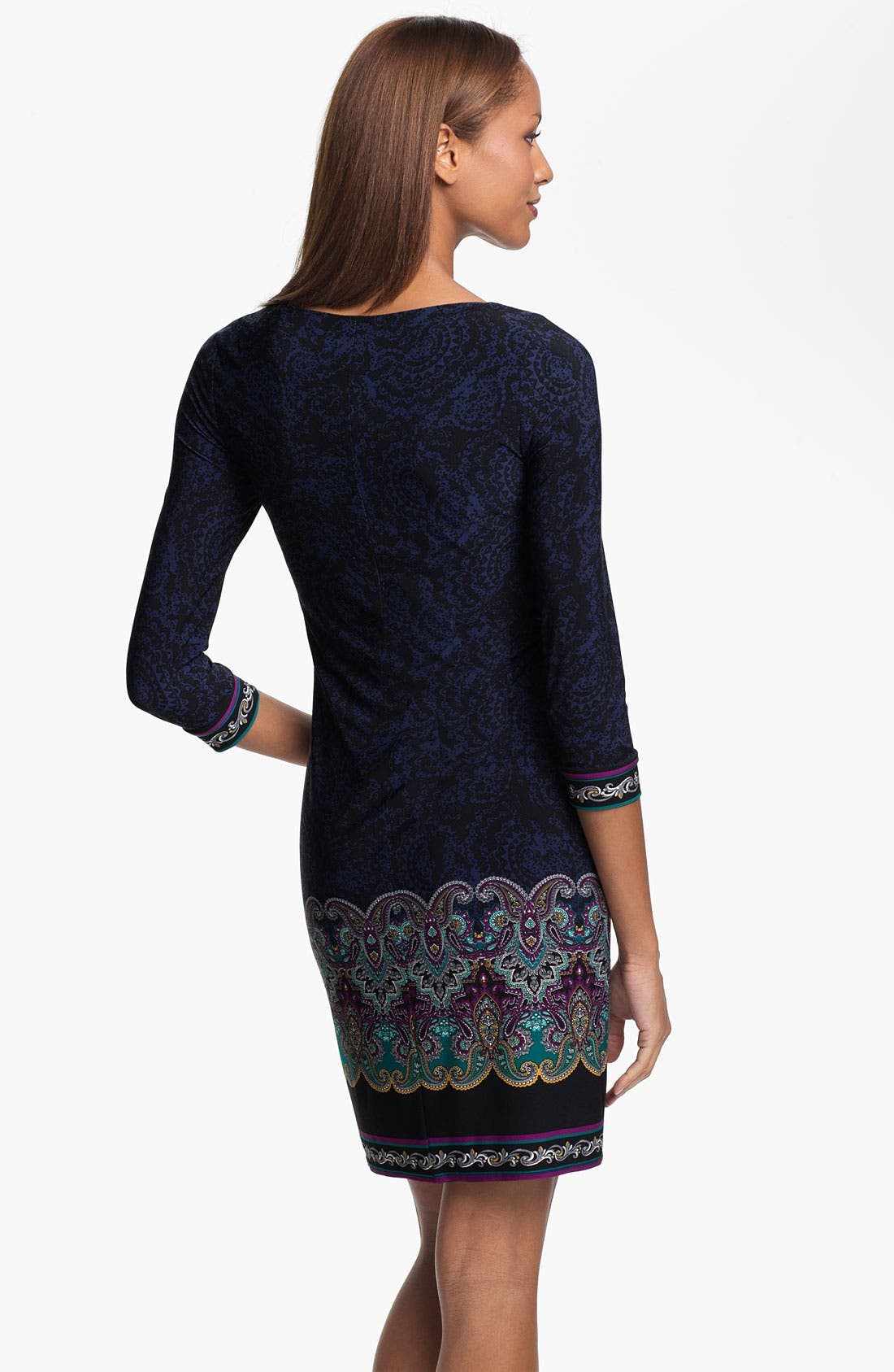 Alternate Image 2  - Laundry by Shelli Segal Zip Front Paisley Print Jersey Dress