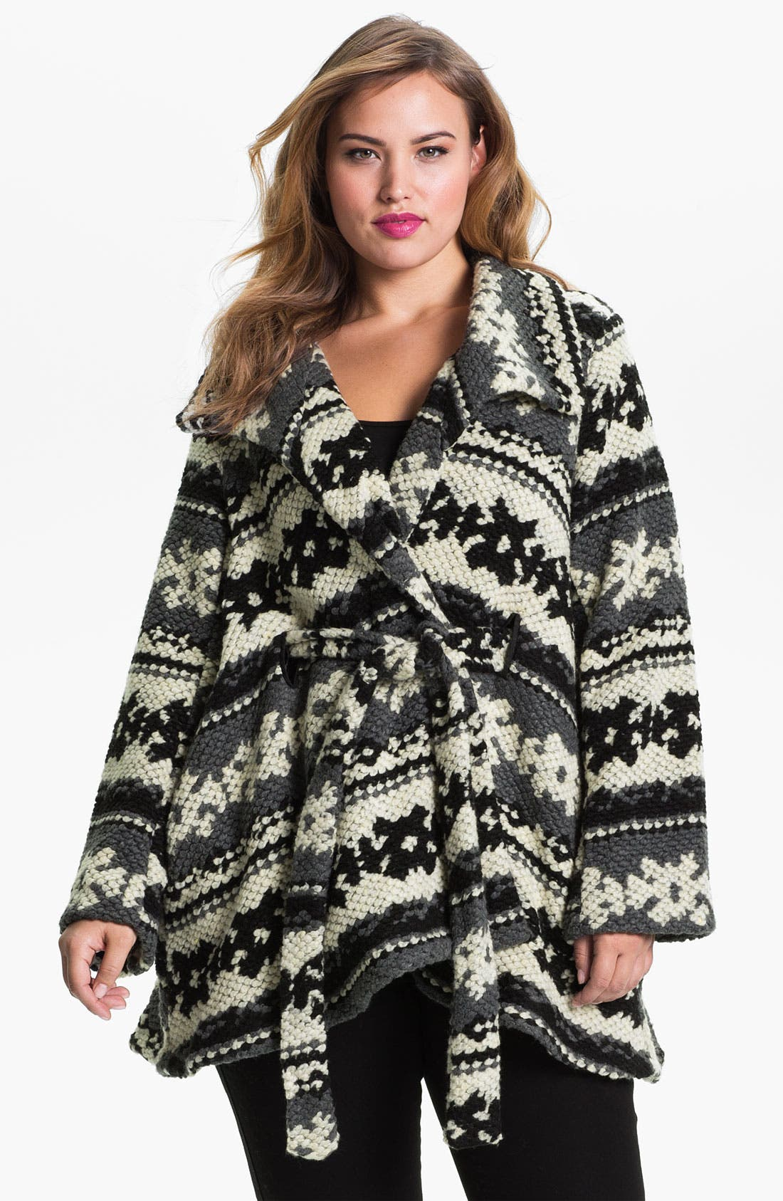 Alternate Image 1 Selected - Evans Pattern Knit Coat (Plus Size)