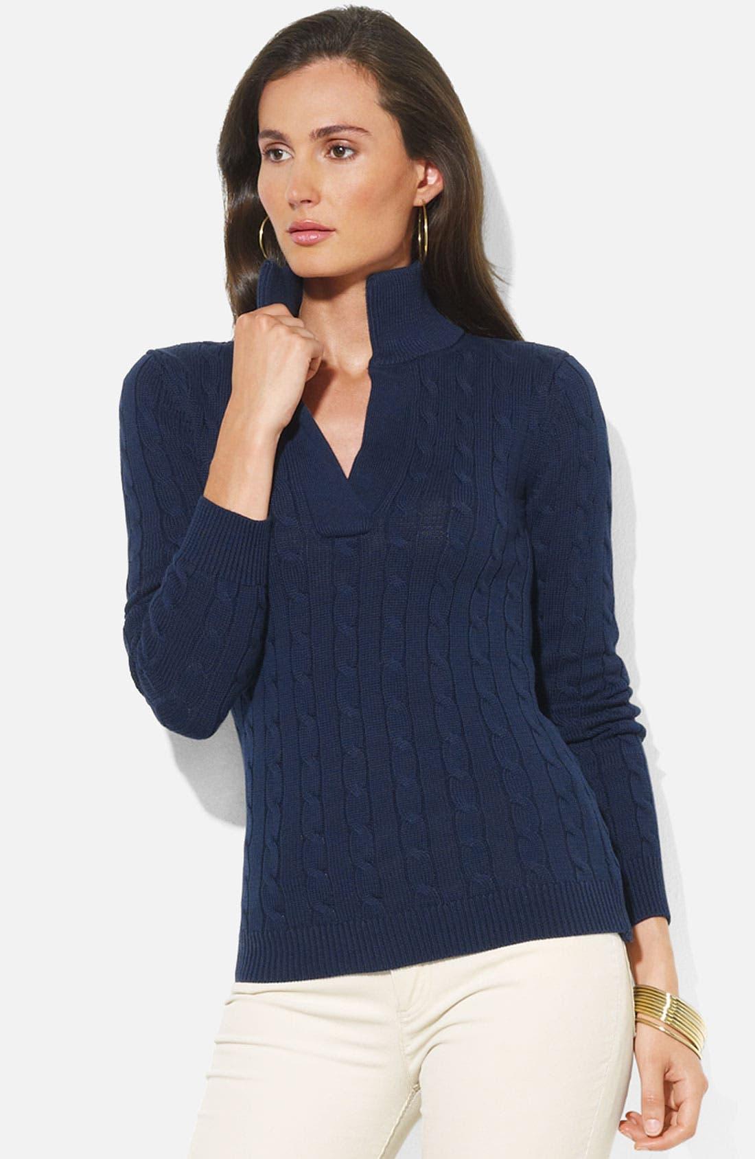 Alternate Image 1 Selected - Lauren Ralph Lauren Split Neck Cable Sweater