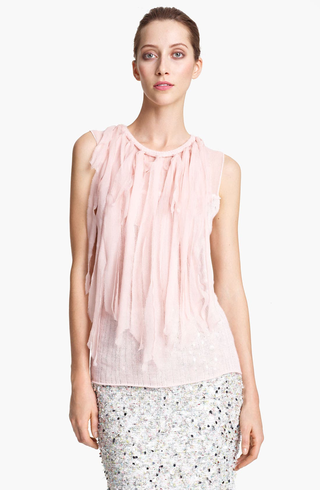 Main Image - Nina Ricci Mousseline Strip Knit Top